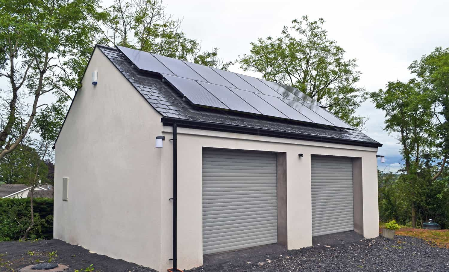 Fleming Dwelling - Typical Double Garage With Solar Panels